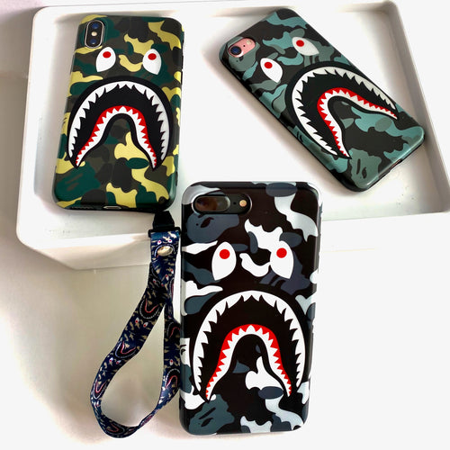 bape iphone case camouflage green, camouflage grey, camouflage blue. Shark design