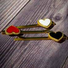 Load image into Gallery viewer, set of hair clips, heart shape white, red, white in gold metal frame
