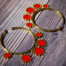 Load image into Gallery viewer, Hoop Gold Earrings Red