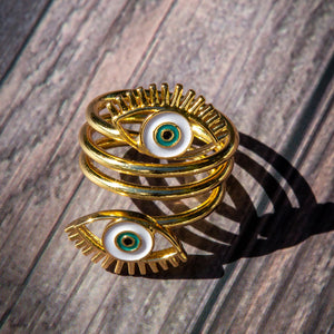 Spiral Double Eye Ring