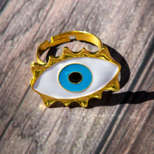 Load image into Gallery viewer, adjustable  Evil Eye Ring