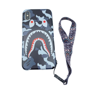 iPhone Case Camouflage grey color shark Design like bape With Strap Holder