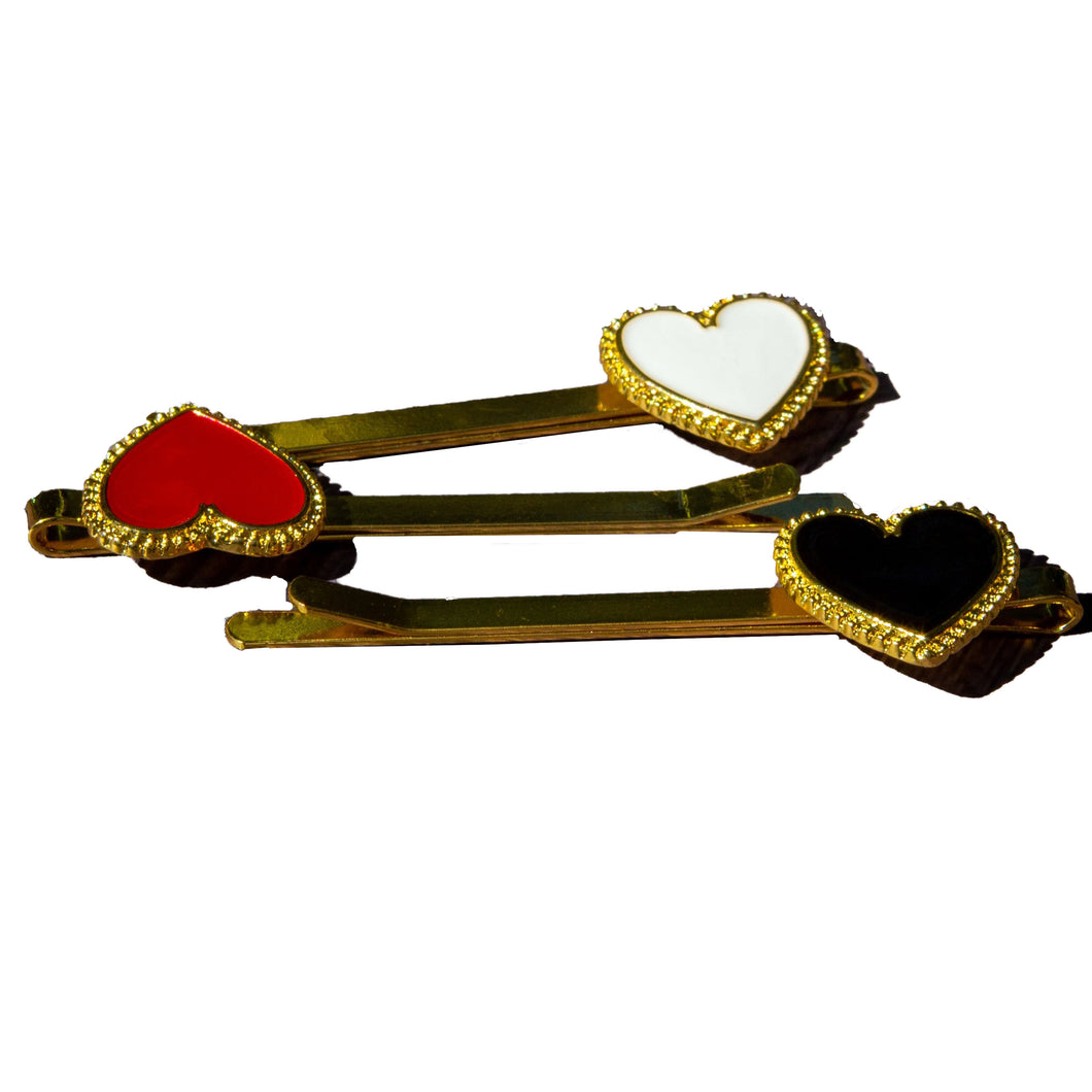 Hair Pins Triple Heart