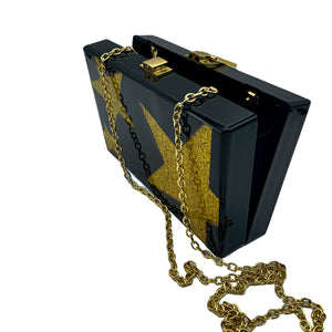 black Box Clutch with gold stars and Chain Strap Shoulder Bag