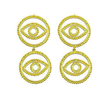 Load image into Gallery viewer, Gold evil eye earrings
