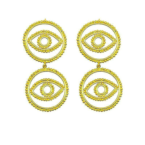 Gold evil eye earrings