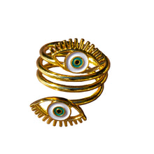 Load image into Gallery viewer, Gold evil eye ring