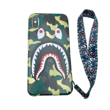 Load image into Gallery viewer, iPhone Case Camouflage green color shark Design like bape With Strap Holder