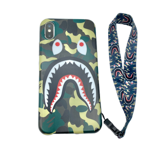 iPhone Case Camouflage green color shark Design like bape With Strap Holder
