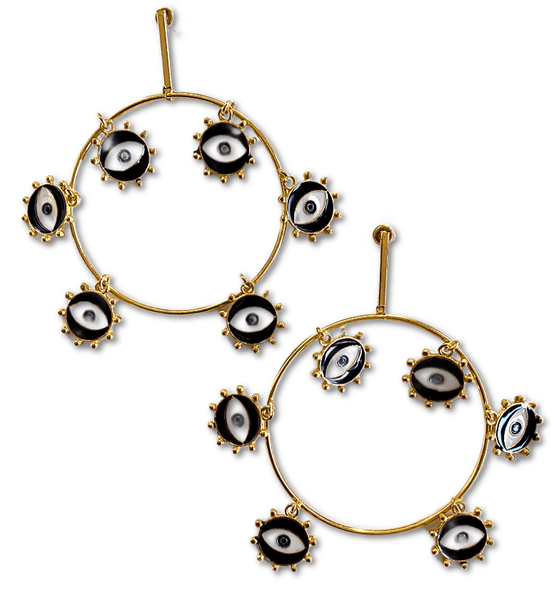 Hoops gold earrings evil eye