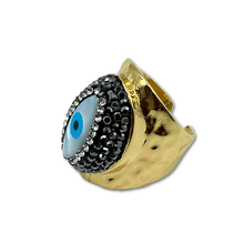 Load image into Gallery viewer, Ring evil eye adjustable