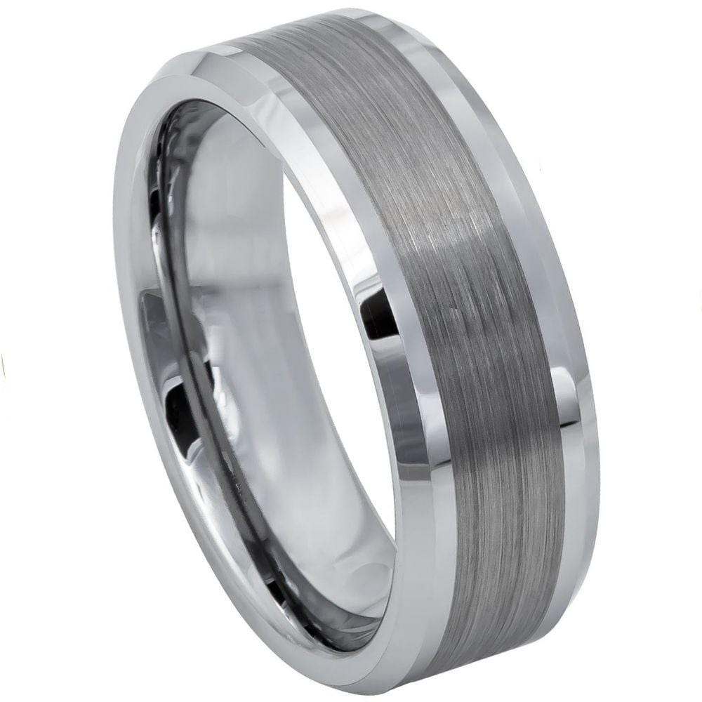 Brushed / Polished Tungsten Band - Happy Jewelers