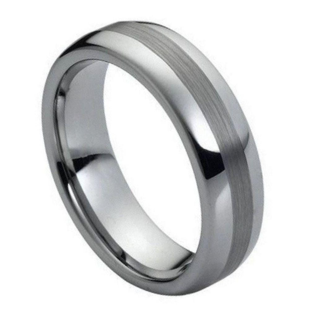 Thin Polished/ Brushed Tungsten Band - Happy Jewelers