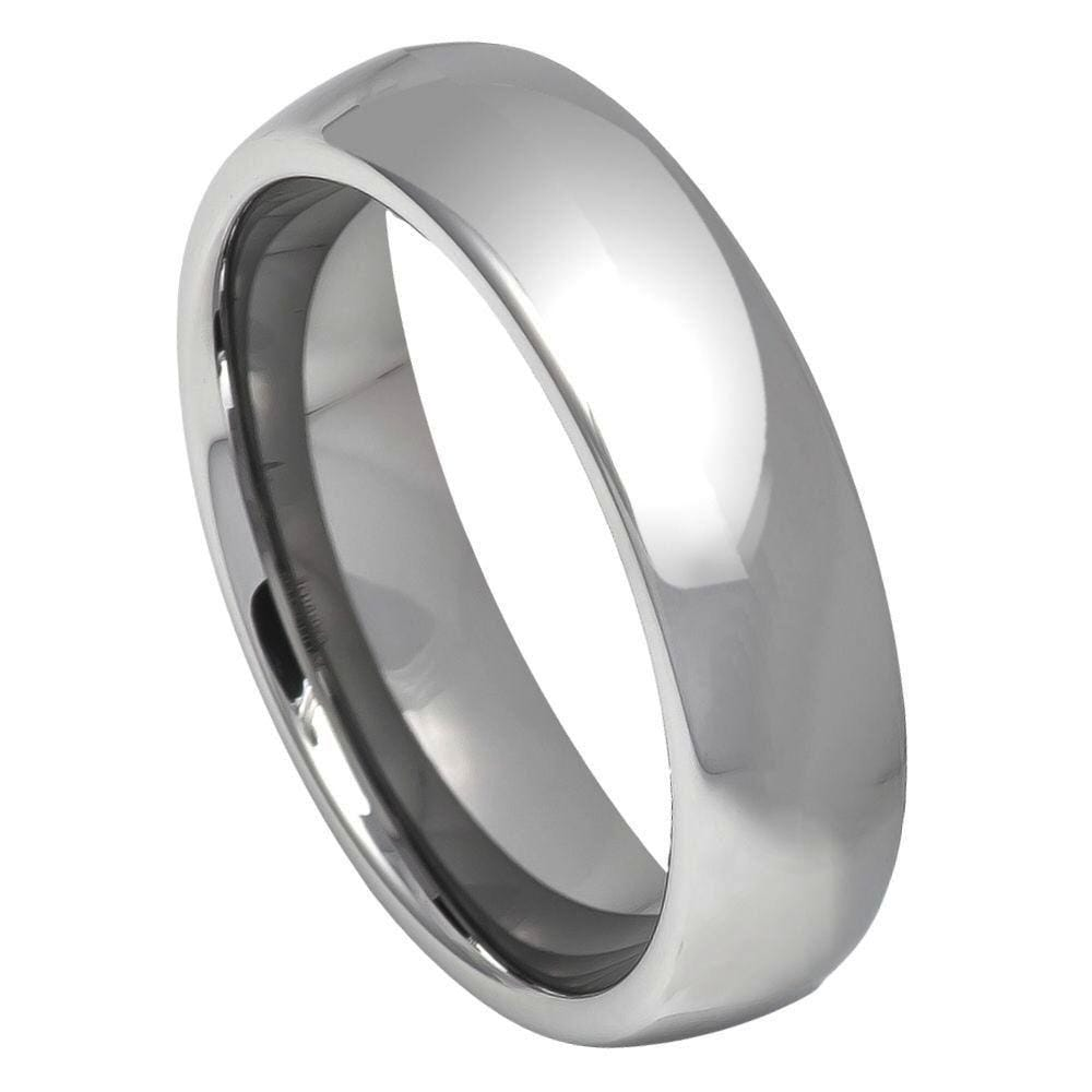 Thin Rounded Polished Tungsten Band - Happy Jewelers