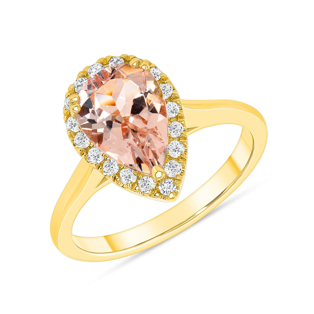 Pear Morganite Halo Ring - Happy Jewelers Fine Jewelry Lifetime Warranty