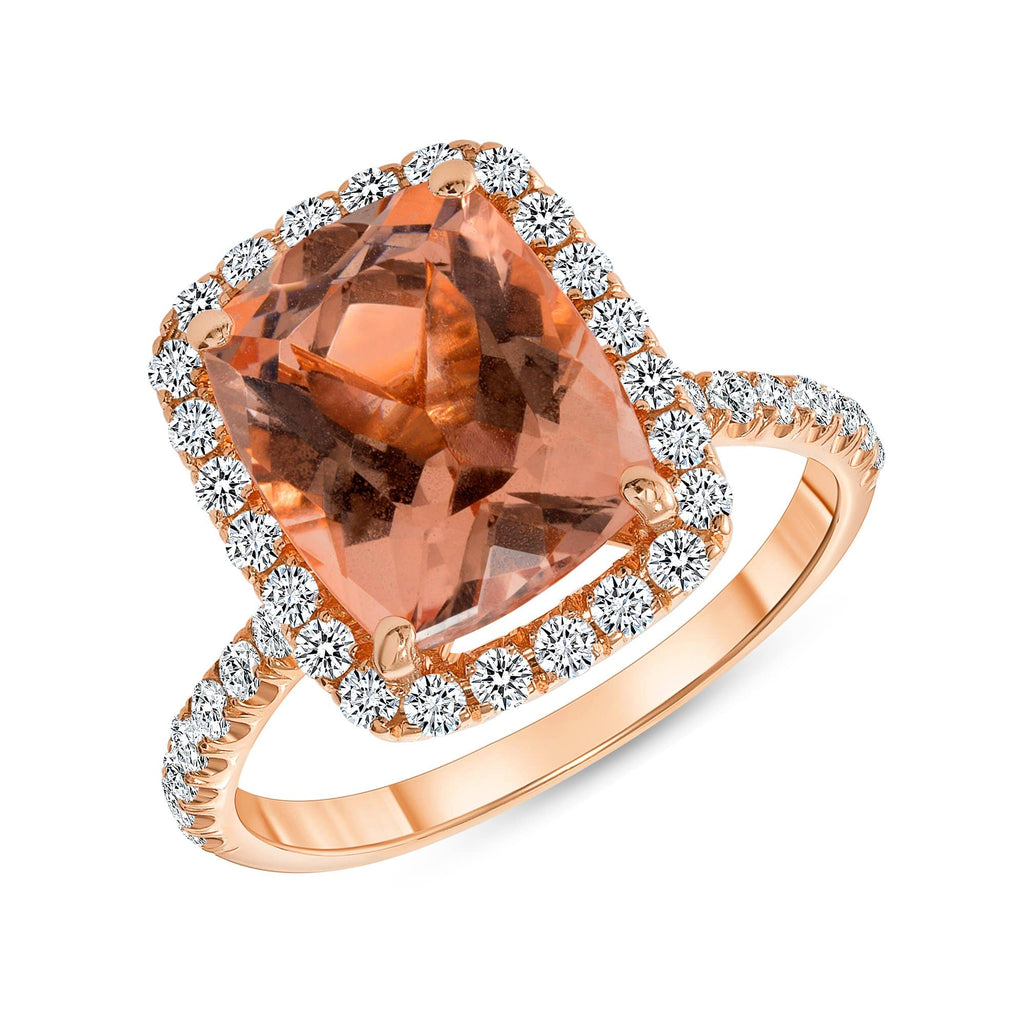 Elongated Cushion Morganite Ring - Happy Jewelers Fine Jewelry Lifetime Warranty