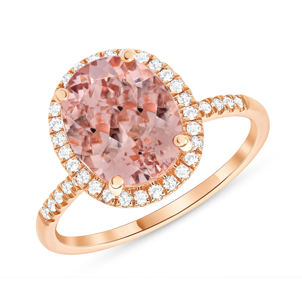 2.57 Carat Oval Morganite Halo Ring - Happy Jewelers Fine Jewelry Lifetime Warranty