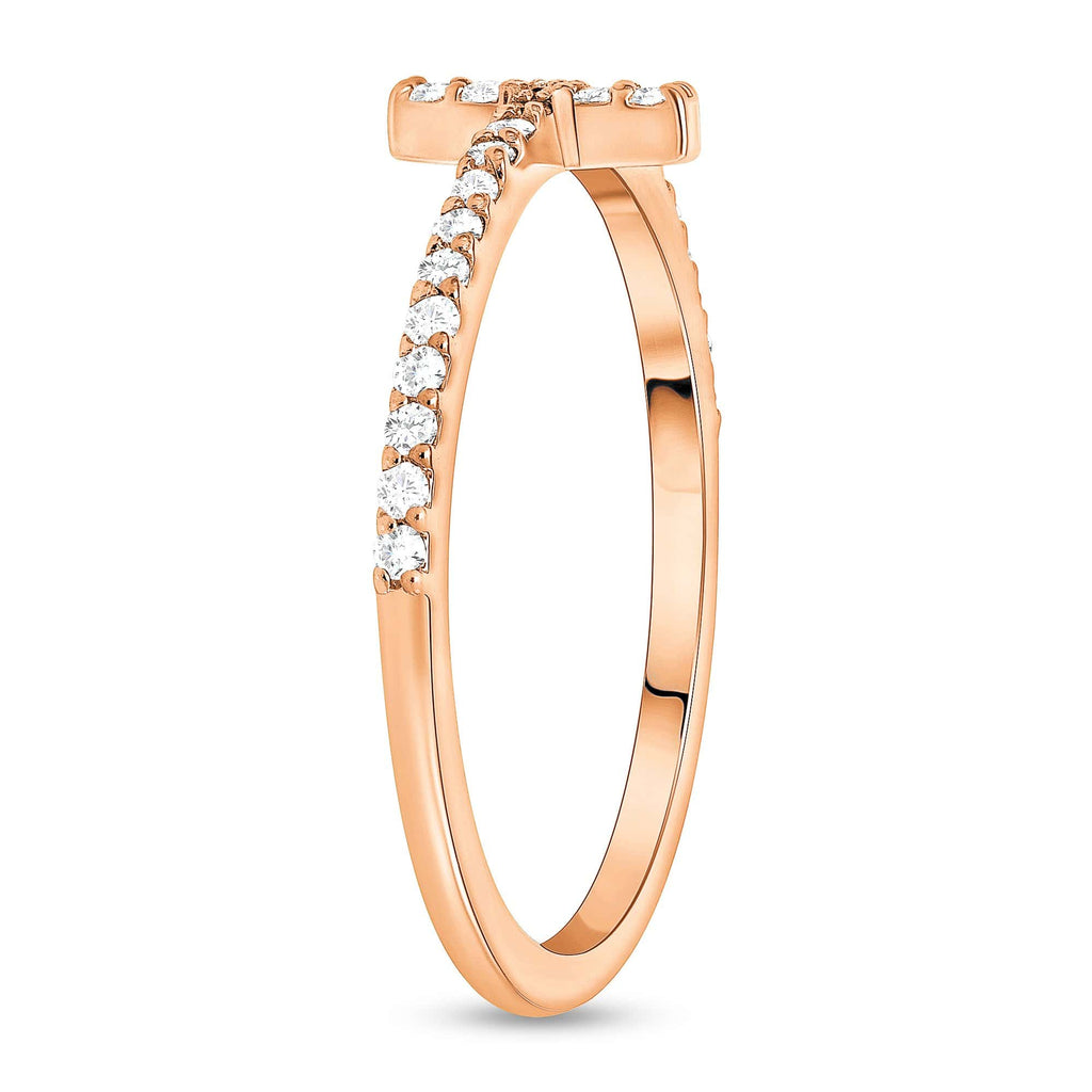 Skinny Diamond Cross Ring - Happy Jewelers