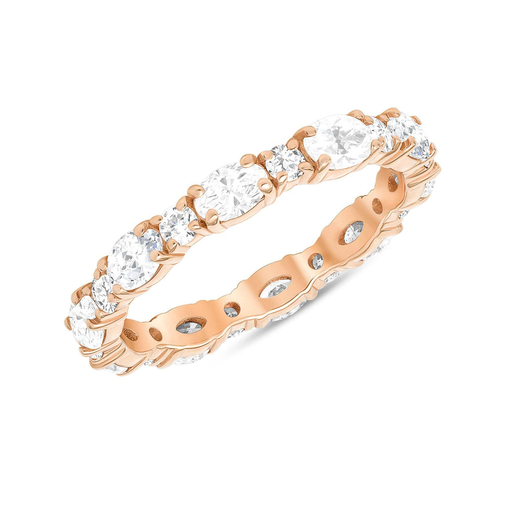 Sideways Oval + Round Alternating Eternity Band - Happy Jewelers Fine Jewelry Lifetime Warranty