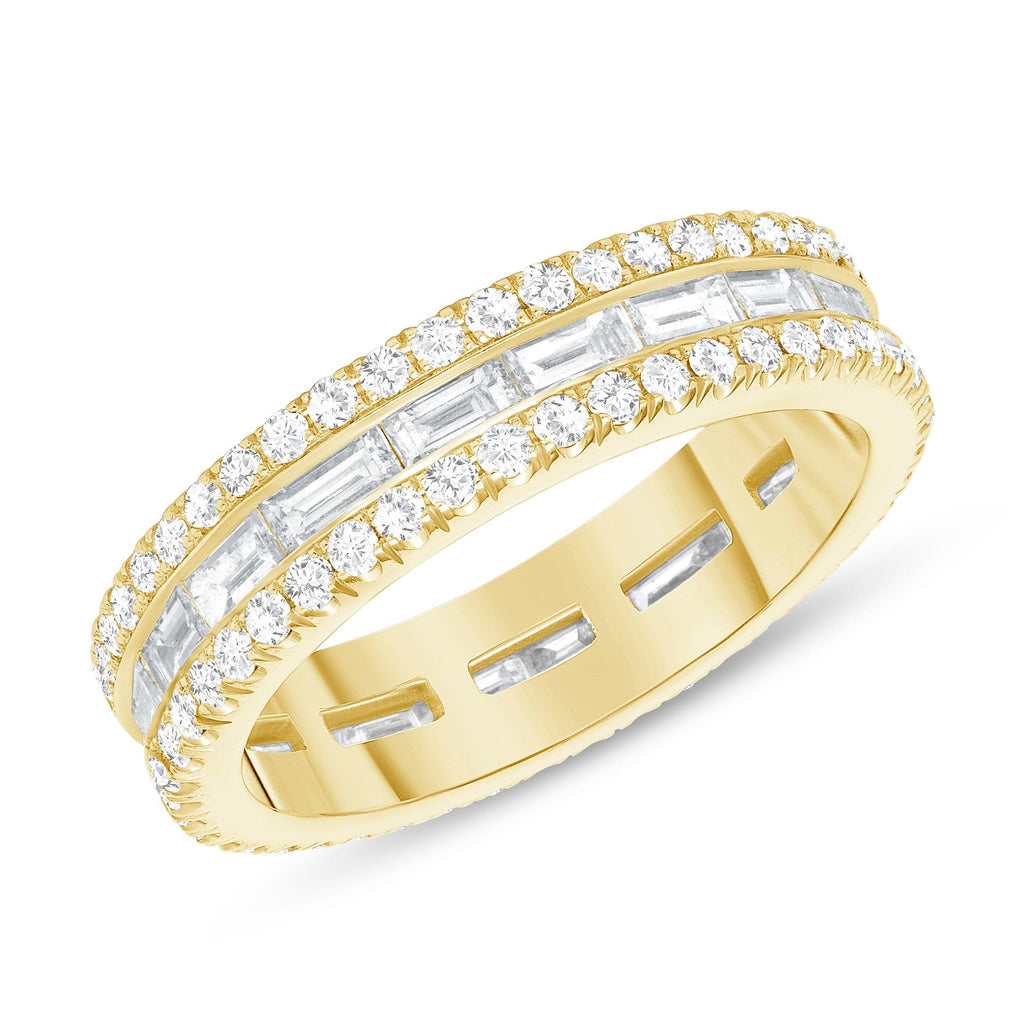 Round + Baguette Diamond Eternity Band - Happy Jewelers