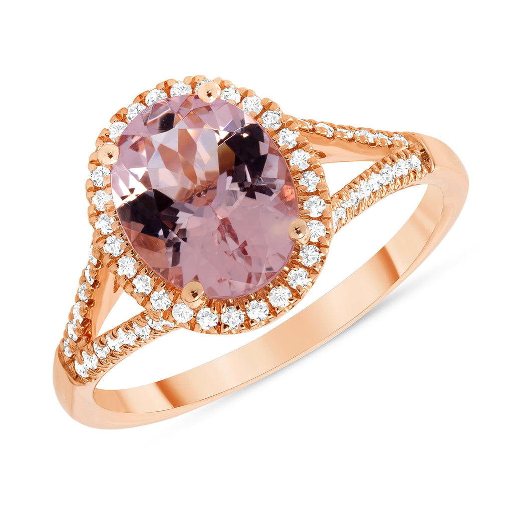 Split Shank 1.64ct Oval Morganite Halo Ring - Happy Jewelers Fine Jewelry Lifetime Warranty
