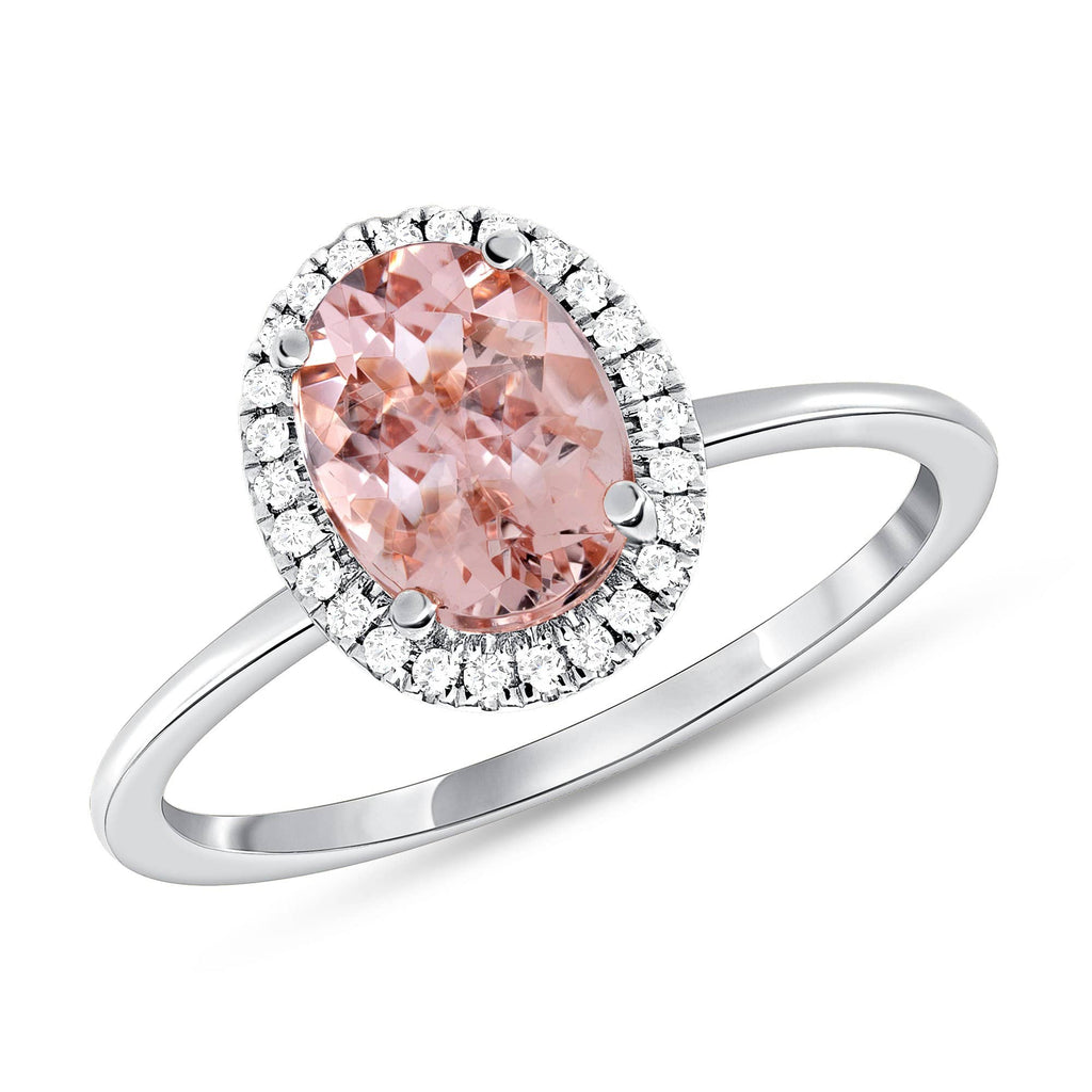Oval Morganite Halo Ring - Happy Jewelers Fine Jewelry Lifetime Warranty