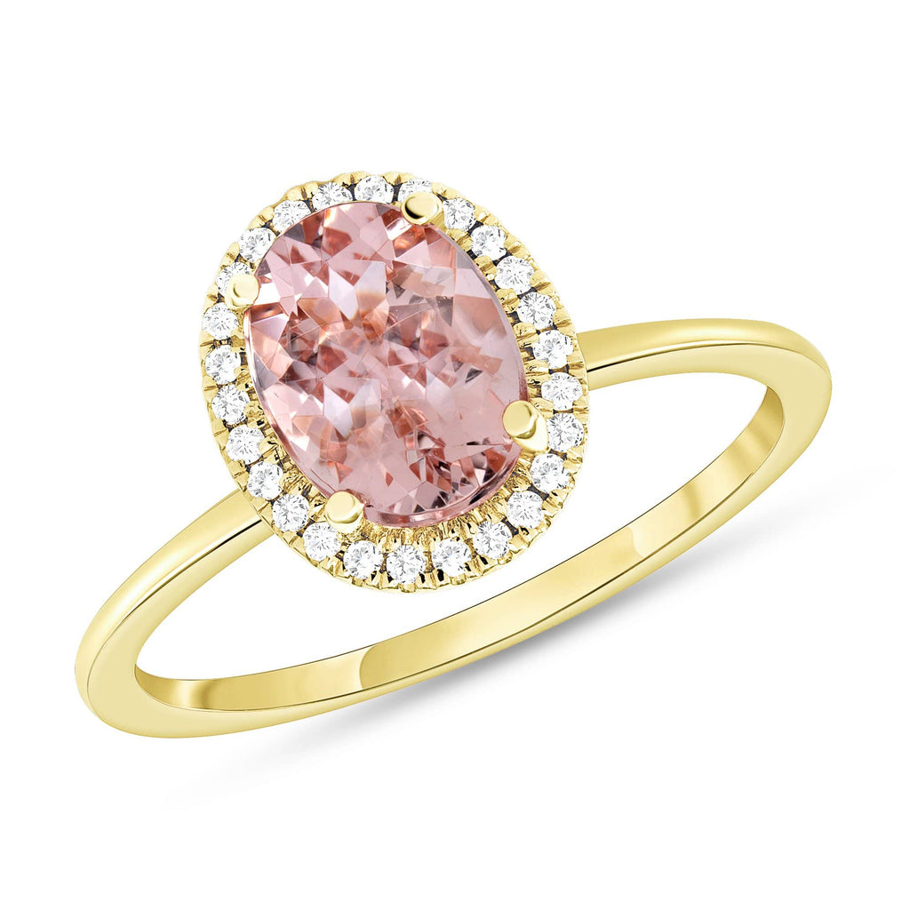 Oval Morganite Halo Ring - Happy Jewelers