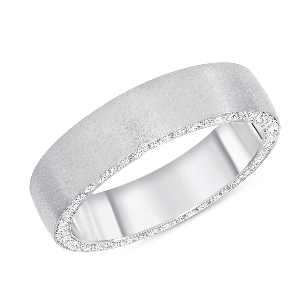 Brushed Finish Men's Ring w/ Diamonds - Happy Jewelers Fine Jewelry Lifetime Warranty