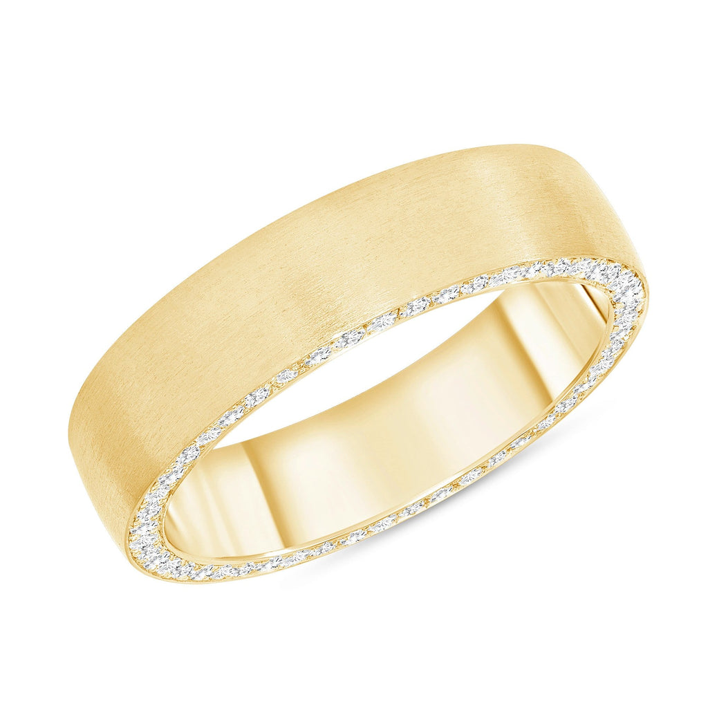 6mm Brushed Finish Men's Ring w/ Diamonds - Happy Jewelers
