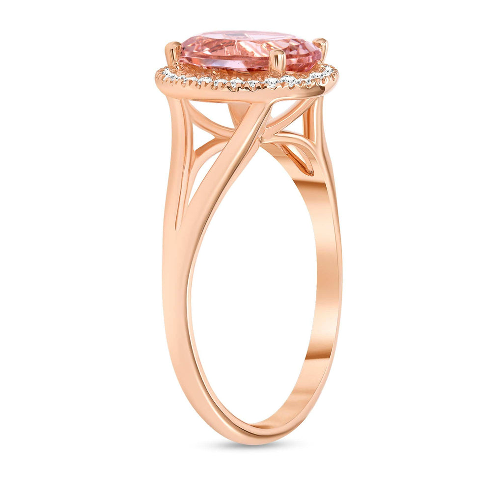 Split Shank 1.77ct Oval Morganite Ring - Happy Jewelers
