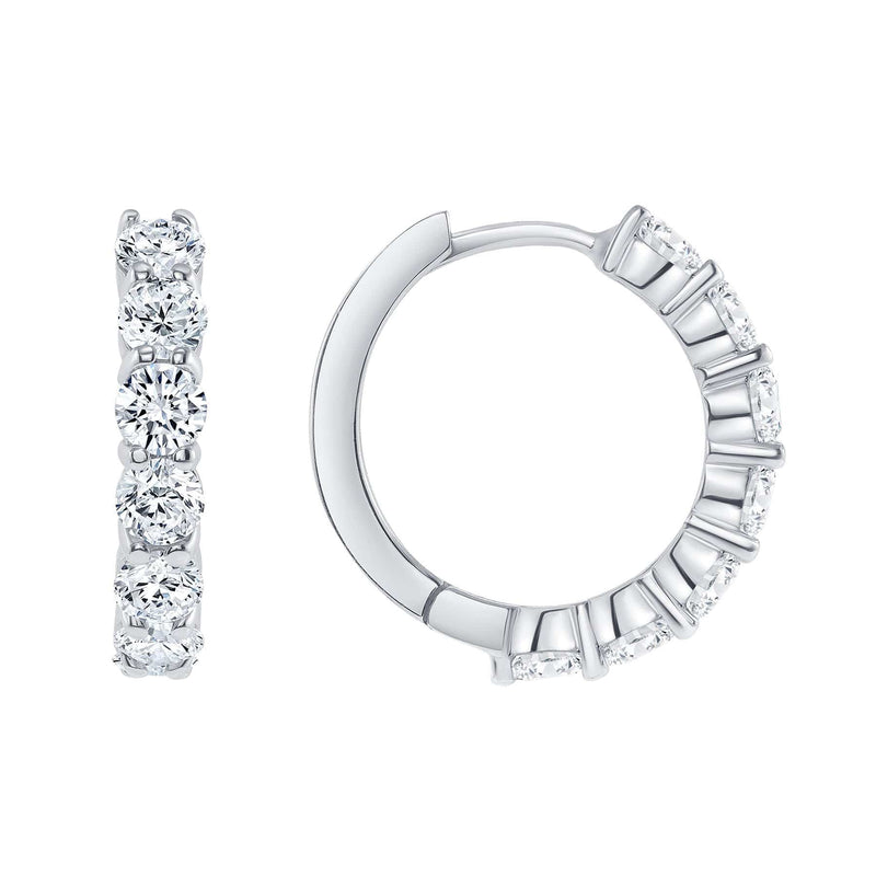 3.8mm Diamond Hoops - Happy Jewelers Fine Jewelry Lifetime Warranty