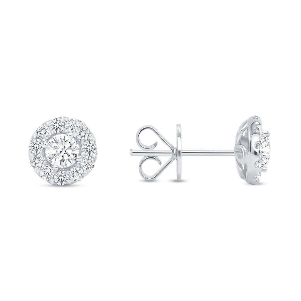 Round Diamond Halo Studs - Happy Jewelers Fine Jewelry Lifetime Warranty