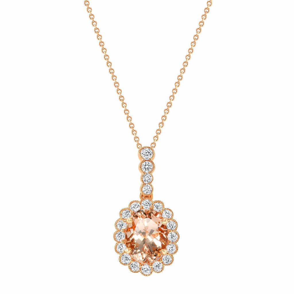 Oval Morganite Pendant - Happy Jewelers Fine Jewelry Lifetime Warranty