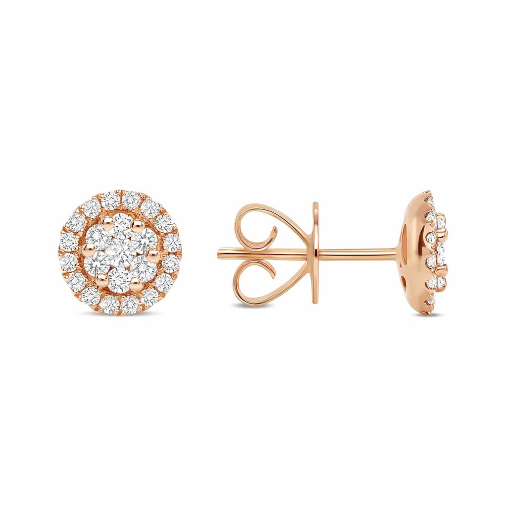 Diamond Halo Cluster Studs - Happy Jewelers Fine Jewelry Lifetime Warranty