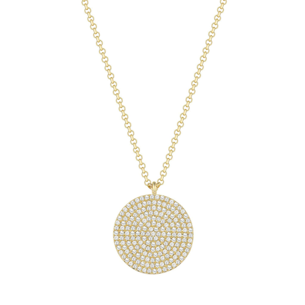 Pavé Diamond Coin Pendant - Happy Jewelers Fine Jewelry Lifetime Warranty