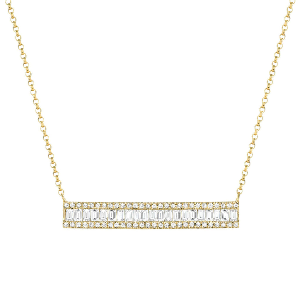 Diamond Baguette Bar Necklace - Happy Jewelers Fine Jewelry Lifetime Warranty