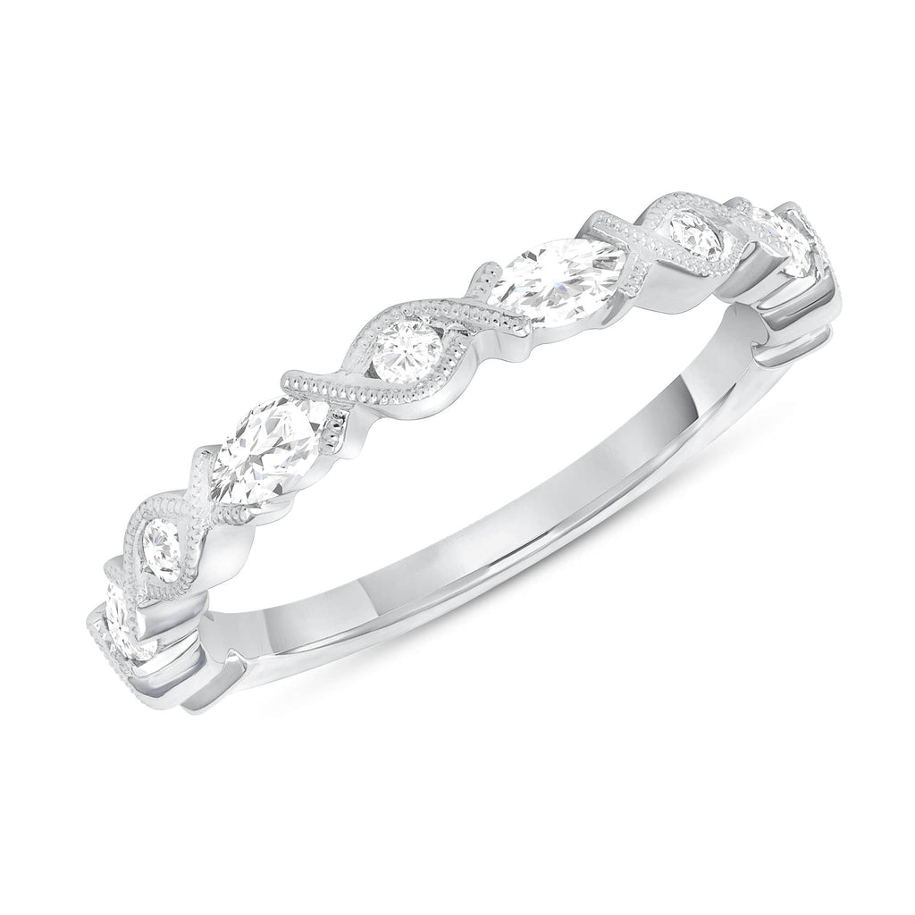 XO Round & Marquise Diamond Band - Happy Jewelers Fine Jewelry Lifetime Warranty