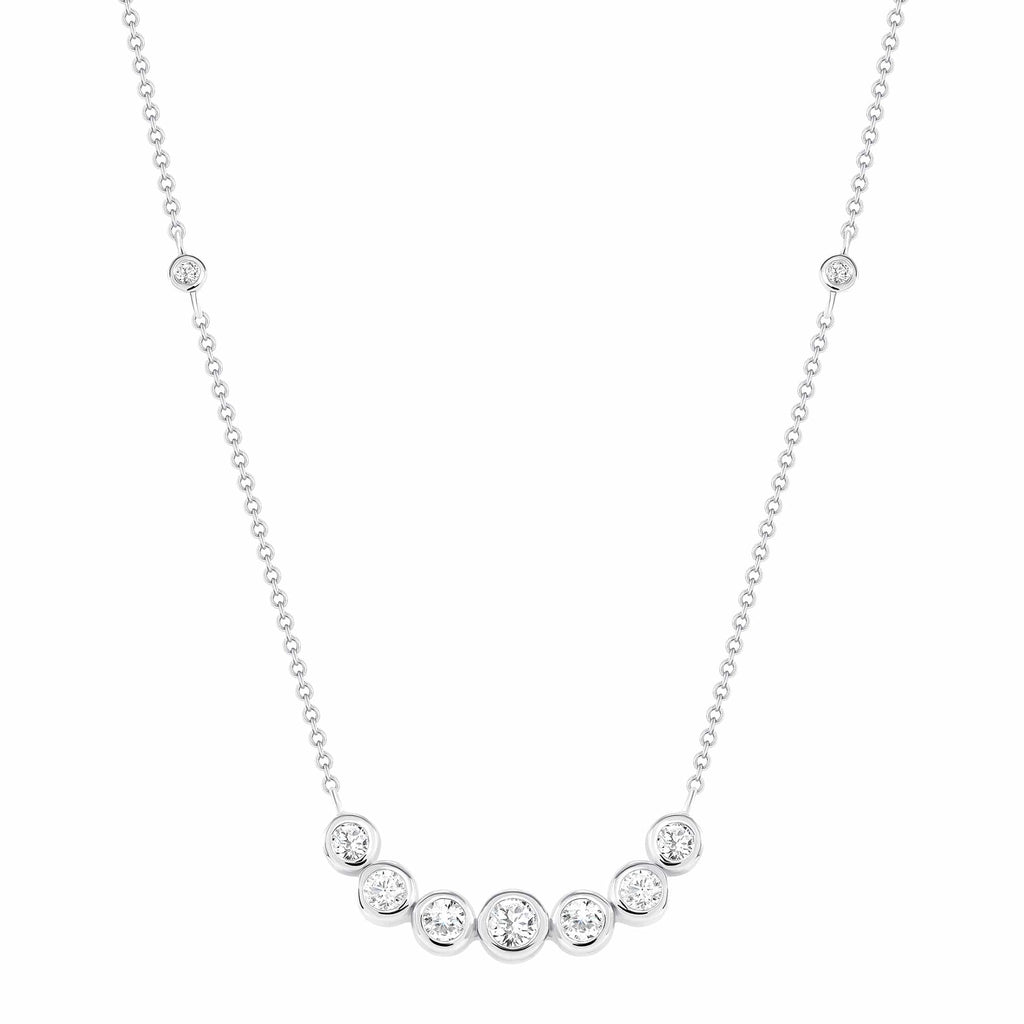 7 Diamond Bezel Set Curve Necklace - Happy Jewelers Fine Jewelry Lifetime Warranty