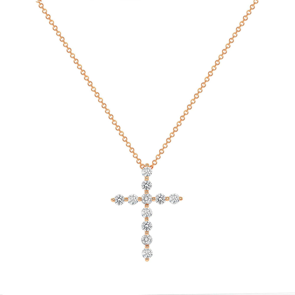 Shared Prong Cross Necklace - Happy Jewelers Fine Jewelry Lifetime Warranty