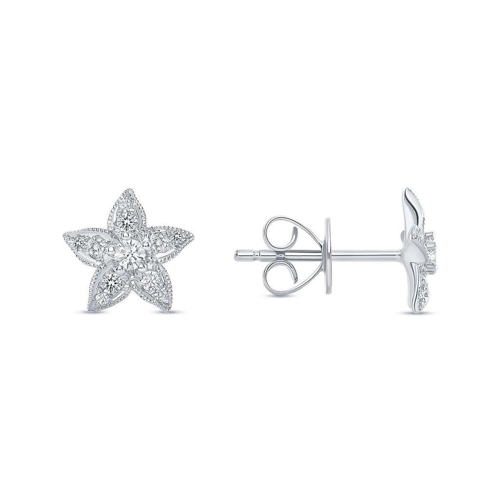 Star Flower Diamond Stud - Happy Jewelers Fine Jewelry Lifetime Warranty