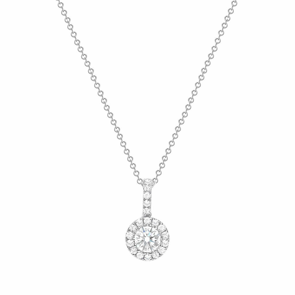 Round Diamond Pendant w/ Halo - Happy Jewelers Fine Jewelry Lifetime Warranty