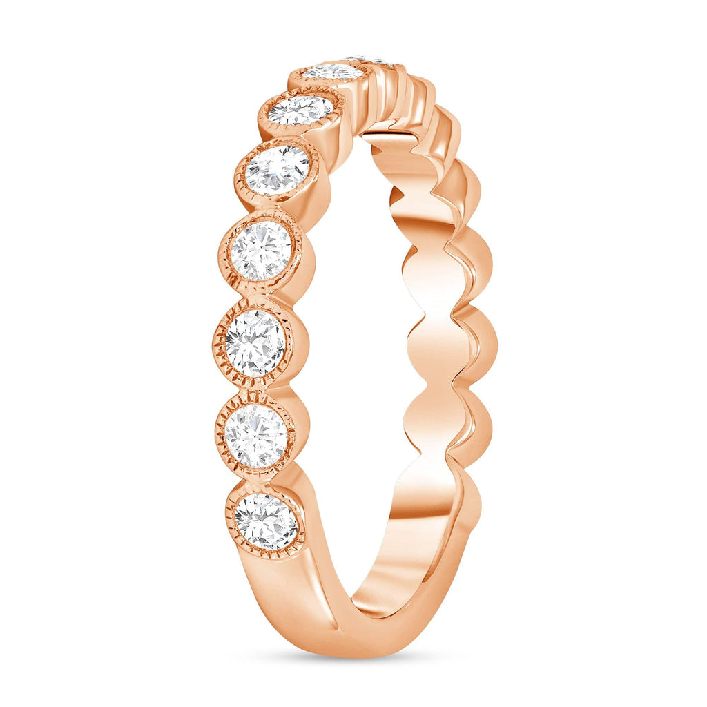 Round Diamond Bezel Set Band - Happy Jewelers