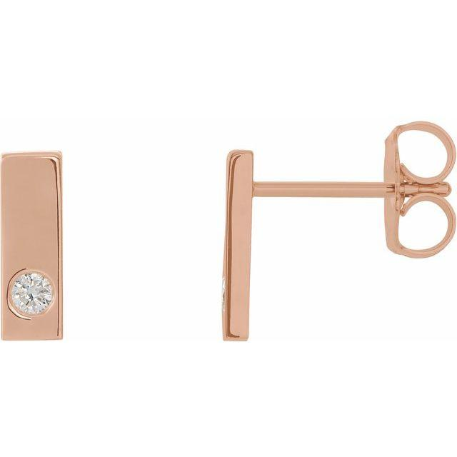 Single Diamond Bar Studs - Happy Jewelers Fine Jewelry Lifetime Warranty