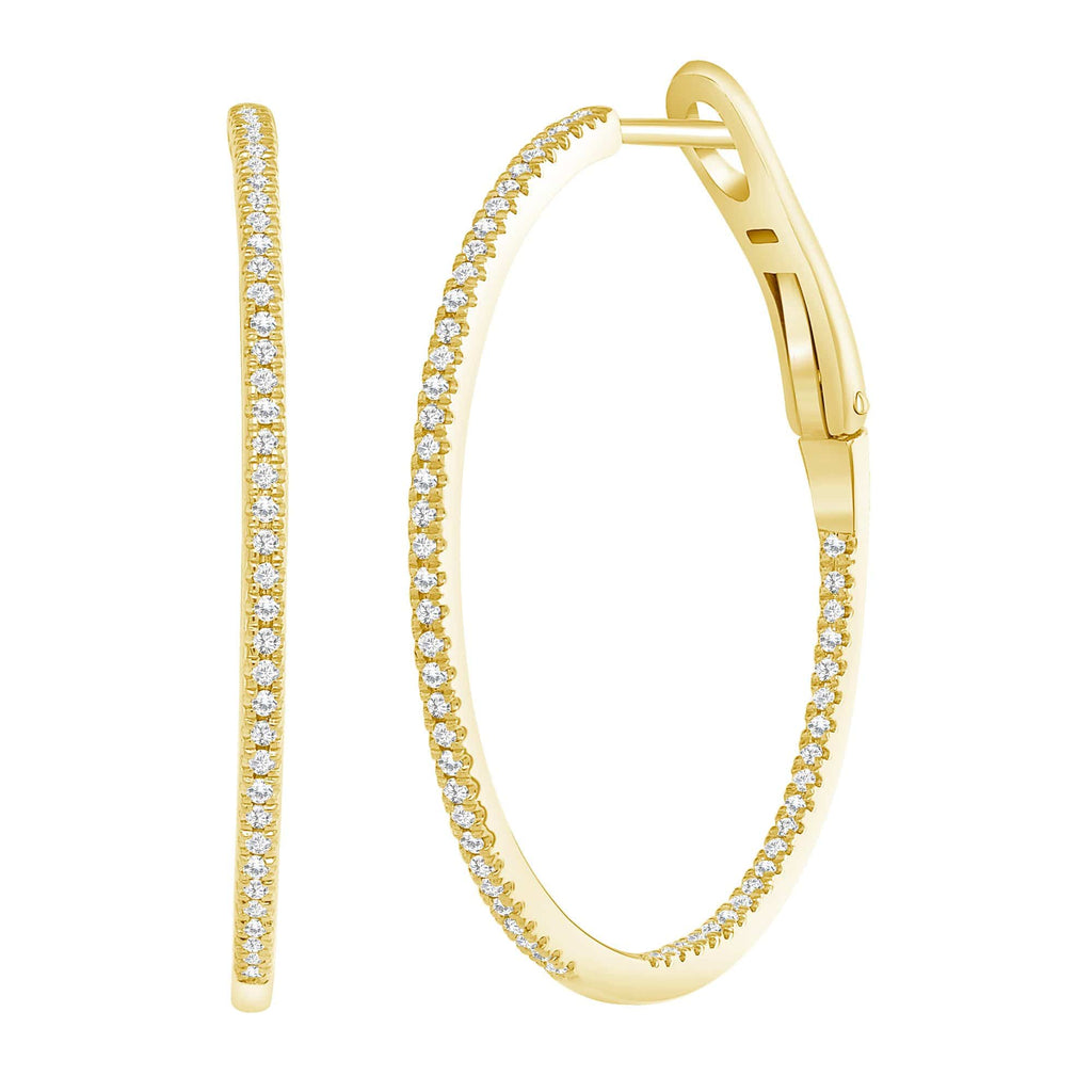 Skinny Diamond Hoops - Happy Jewelers Fine Jewelry Lifetime Warranty
