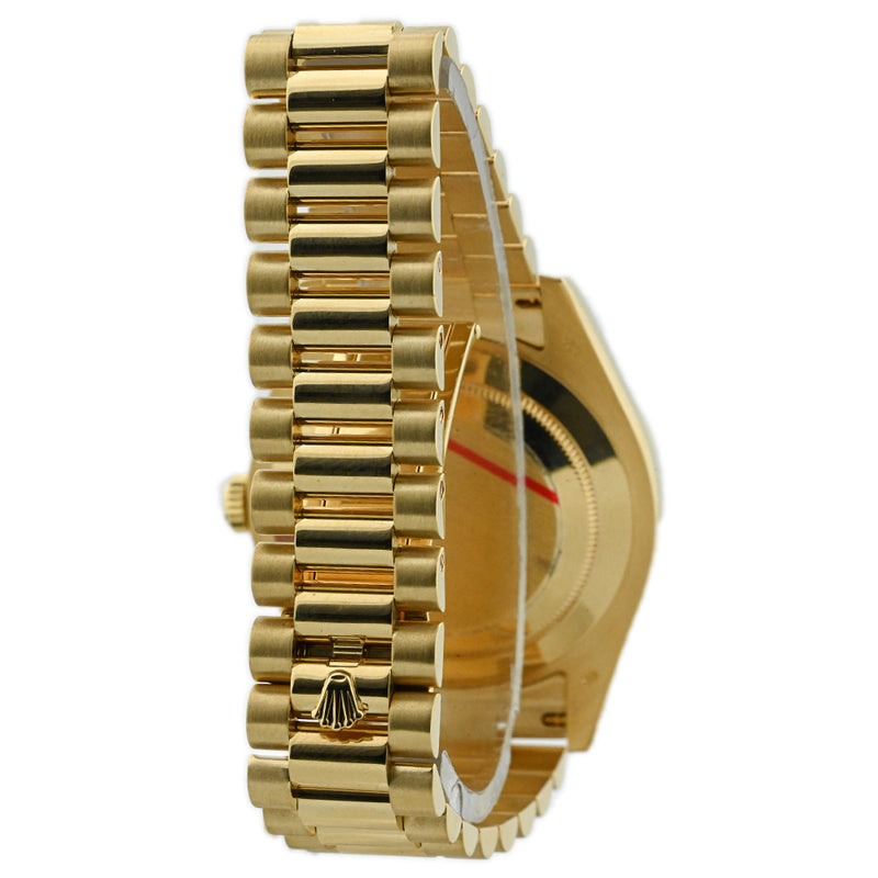 Rolex Mens Day-Date II 18K Yellow Gold 41mm Black Roman Dial Watch Reference #: 218238 - Happy Jewelers Fine Jewelry Lifetime Warranty