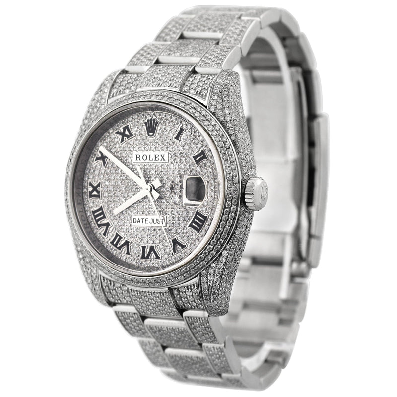 Rolex Unisex Iced Out Datejust Stainless Steel 36mm Pave Diamond Roman Dial Watch Reference #: 116200 - Happy Jewelers Fine Jewelry Lifetime Warranty