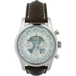 Breitling Mens Transocean Chronograph Unitime Stainless Steel 46mm White w/ Globe Pattern Dial Watch Reference #: AB0510U0/A732-443X - Happy Jewelers Fine Jewelry Lifetime Warranty