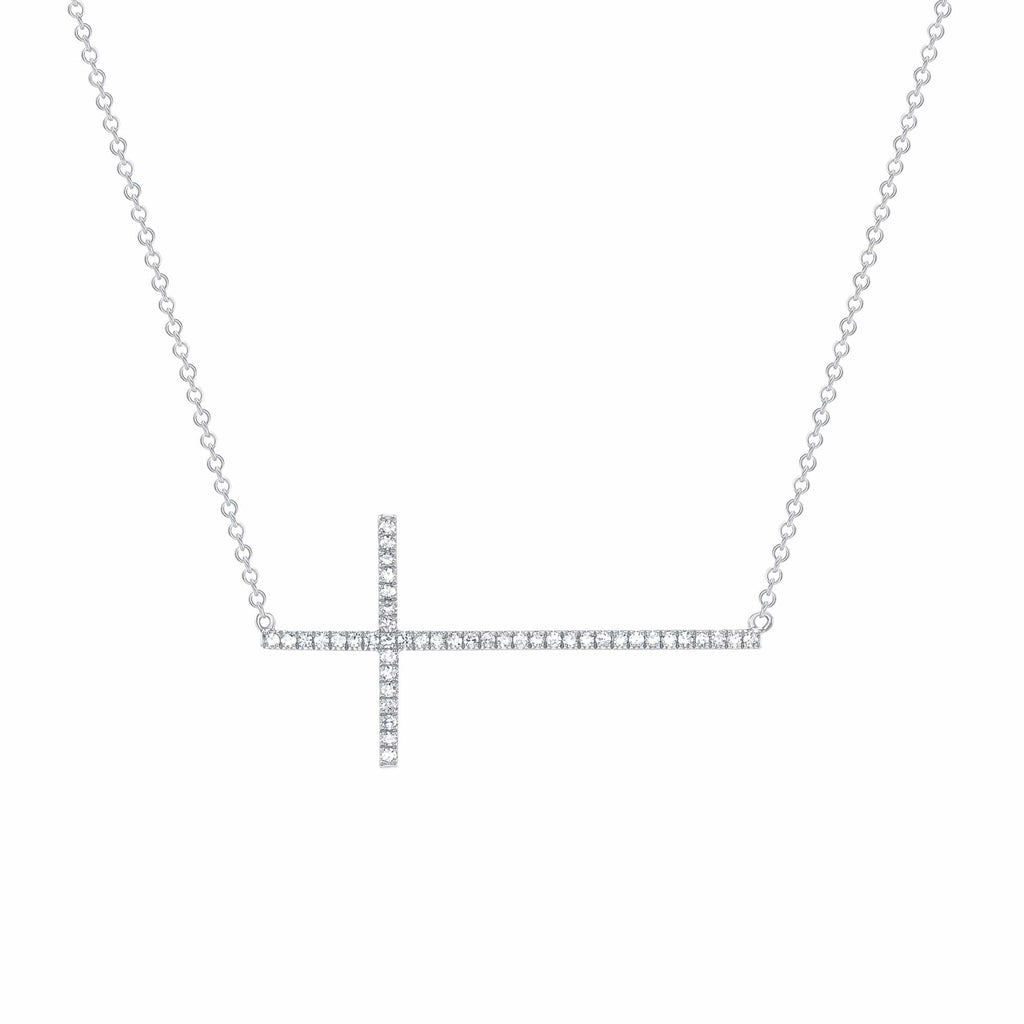 Diamond Sideways Cross - Happy Jewelers Fine Jewelry Lifetime Warranty