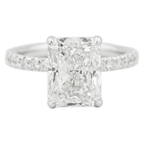 3.50 Carat Radiant Diamond Engagement Ring w/ Hidden Halo & 3/4 Around Diamond Band | 14k White Gold - Happy Jewelers Fine Jewelry Lifetime Warranty