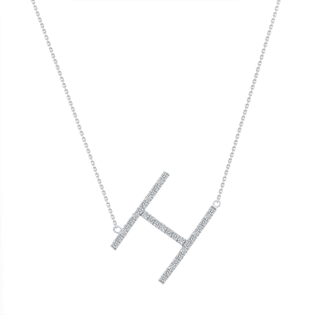 Large Sideways Diamond Initial Necklace - Happy Jewelers
